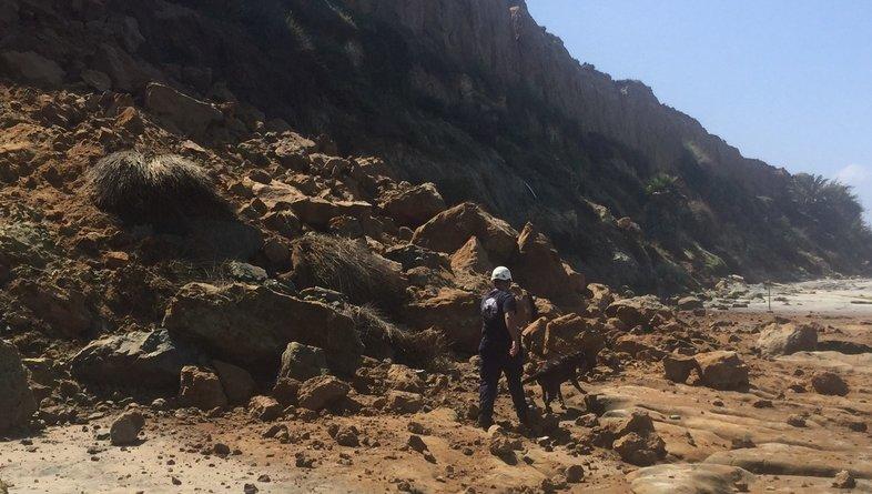 Sarge & Aide Barbat search below the bluffs in Del Mar, CA.