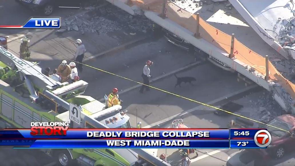 Florida teams search for survivors of pedestrian bridge collapse